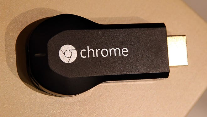 The new Google Chromecast is displayed during a Google special event at Dogpatch Studios in San Francisco, California.
