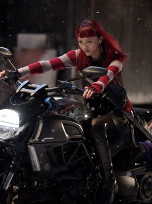 Rila Fukushima plays the motorcycle-riding, sword-swinging Yukio in 'The Wolverine.'