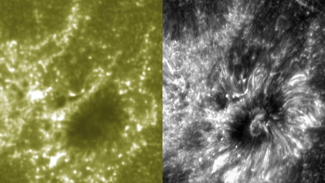 This combination of images shows a comparison between the higher resolution provided by the new ISIS (Interface Region Imaging Spectrograph), right, and the SDO (Solar Dynamics Observatory) spacecraft. Launched in June, NASA's IRIS has a scheduled mission of two years.