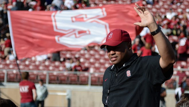 Stanford coach David Shaw instructs his team after the Cardinal & White spring game at Stanford Stadium on April 13.