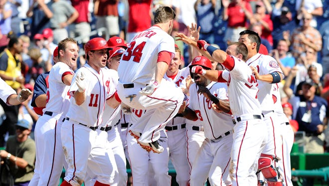 Bryce Harper bailed the Nationals out Thursday with his first walk-off home run.