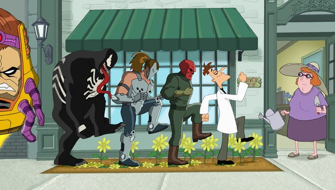 """Dr. Doofenshmirtz and Marvel Comics' worst villains are up to no good in """"Phineas and Ferb: Mission Marvel."""""""
