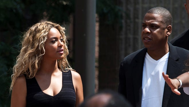 Beyonce and her husband Jay Z attend a rally honoring Trayvon Martin outside One Police Plaza in Manhattan on July 20.