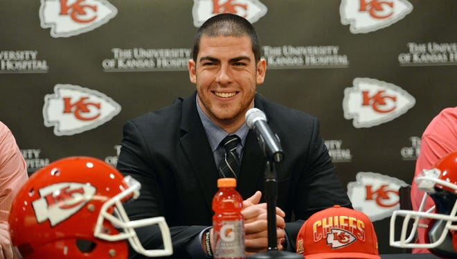 Offensive tackle Eric Fisher was taken first overall by the Kansas City Chiefs in the past draft.