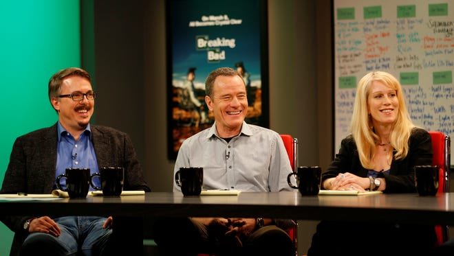 Sundance Channel's new 'Writers' Room' kicks off Monday with a visit to the 'Breaking Bad' scribes. (From left: Vince Gilligan, Bryan Cranston, and Moira Walley Beckett.)