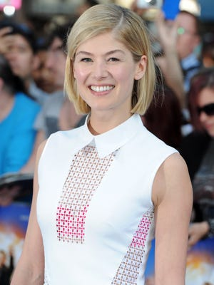 Rosamund Pike attends the World Premiere of 'The World's End' at Empire Leicester Square. She'll play Amy in the forthcoming 'Gone Girl' movie.