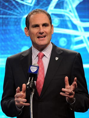 Pac-12 commissioner Larry Scott speaks at football media day held at the Sony Studios Lot.