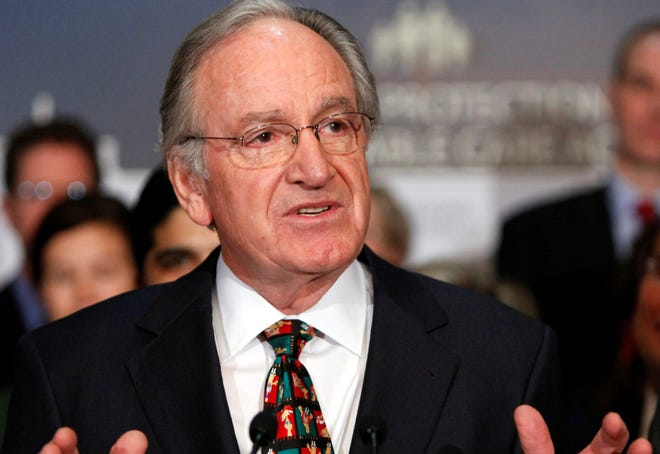 In this 2009 file photo, Senate Health, Education, Labor and Pensions Committee Chairman Sen. Tom Harkin, D-Iowa gestures during a news conference on Capitol Hill, in Washington. Harkin spearheaded an effort to examine federal education spending at for-profit colleges.