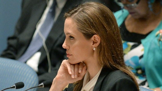 Angelina Jolie attends a United Nations Security Council meeting.