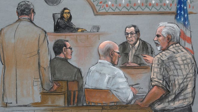 "This courtroom sketch depicts Steve Davis, right, brother of homicide victim Debra Davis, allegedly killed by James ""Whitey"" Bulger, center, as Davis explodes in anger after Bulger's former partner Stephen ""The Rifleman"" Flemmi, behind right, identified him as a drug user and informant at U.S. District Court in Boston on July 22."