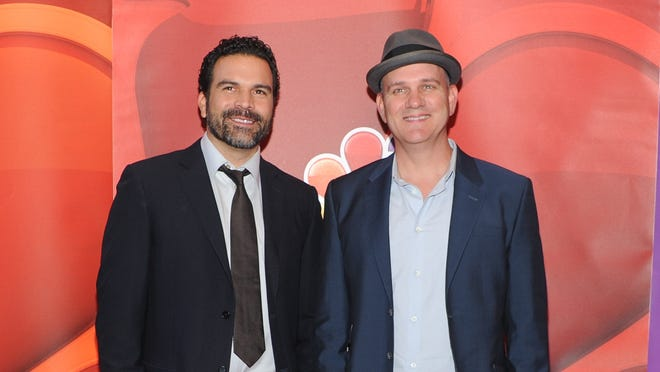 Ricardo Chavira, left, and Mike O'Malley promote their new show, 'Welcome to the Family,' at the NBC upfront May 13 in New York.