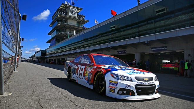 Ryan Newman, the last driver to qualify Saturday, grabbed the pole for Sunday's Brickyard 400 at Indianapolis Motor Speedway.