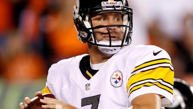 Pittsburgh Steelers quarterback Ben Roethlisberger passes during the first half of a game against the Cincinnati Bengals at Paul Brown Stadium last season.