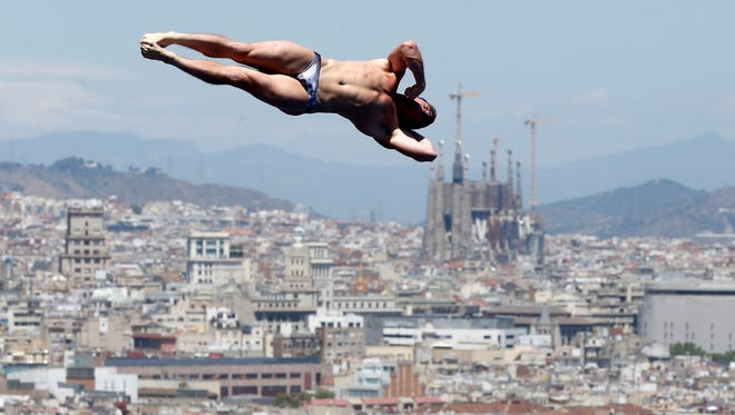 Silver medalist David Boudia from U.S. performs during the men's 10-meter platform final at the FINA Swimming World Championships in Barcelona on Sunday.