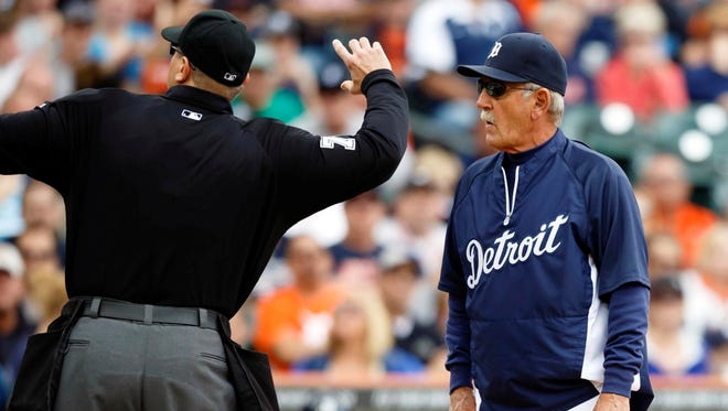 Detroit Tigers manager Jim Leyland is ejected by umpire Chad Fairchild in the third inning against the Philadelphia Phillies at Comerica Park.