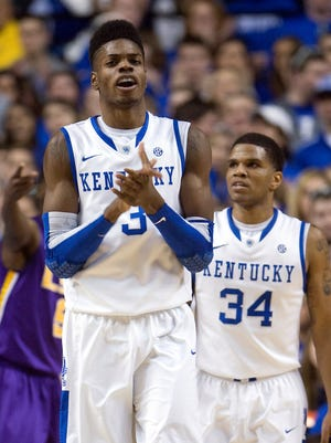 Former Kentucky Wildcats forward Nerlens Noel, left, and guard Julius Mays, right, were back in Lexington and offered advice to some current players.