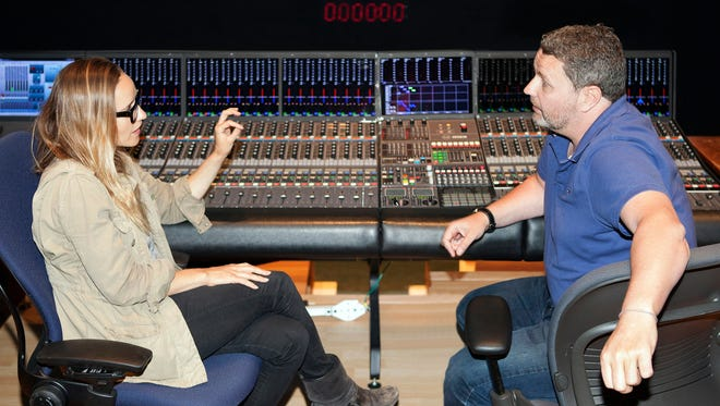 Skywalker Sound sound designer Chris Barnett works with Sundance filmmaker Meredith Danluck in the Tech building at Skywalker Ranch.