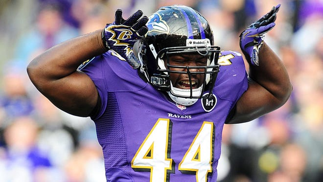 Baltimore Ravens fullback Vonta Leach (44) celebrates after scoring a touchdown during the second quarter of the AFC Wild Card playoff game against the Indianapolis Colts at M&T Bank Stadium.