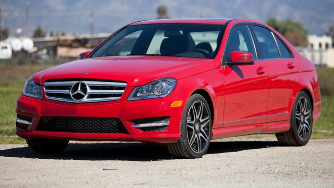 The Mercedes-Benz C Class, shown here as a 2013 C250, is the most stolen luxury car, a report finds