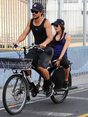 Taylor Lautner and Marie Avgeropoulos  are seen in the West Side Highway on July 23 in NYC.