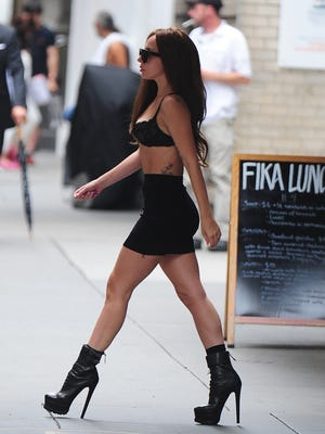 Lady Gaga is striding back into the spotlight. Here she is on a NYC street on July 11.