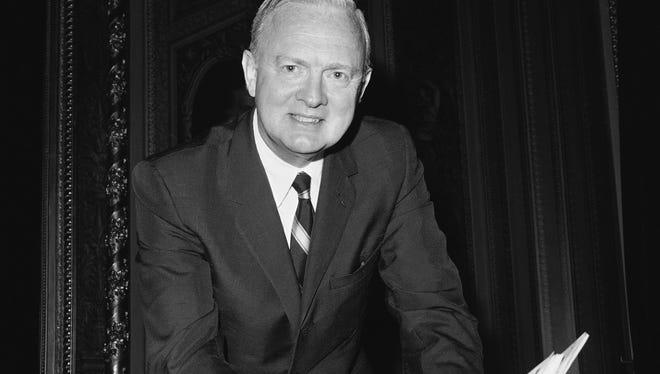 In 1966, Sen. Harry F. Byrd Jr, D-Va., prepares for a speech against the civil rights bill, on the Senate floor on Capitol Hill in Washington.