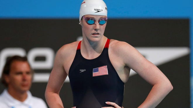 Missy Franklin prepares to start a women's 200 freestyle heat at the FINA Swimming World Championships in Barcelona, Tuesday.
