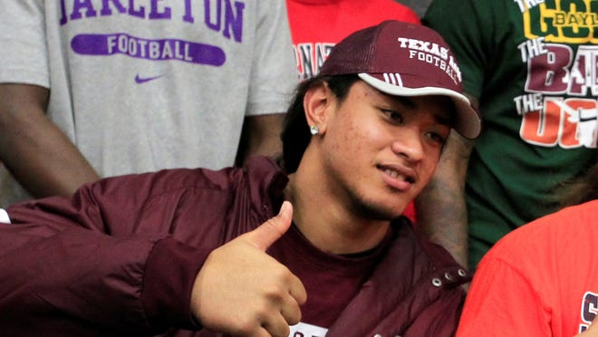 Texas A&M player Polo Manukainiu was killed in a car accident late Monday.