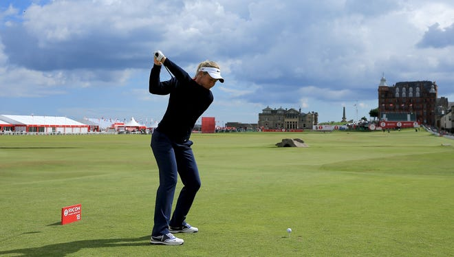Suzann Pettersen of Norway during the pro-am Tuesday ahead of the Ricoh Women's British Open on the Old Course at St. Andrew.