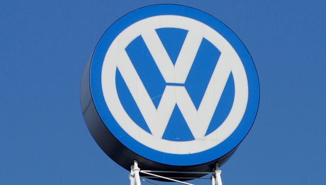 The VW logo is photographed at the company's headquarters at the Volkswagen plant in Wolfsburg, Germany.