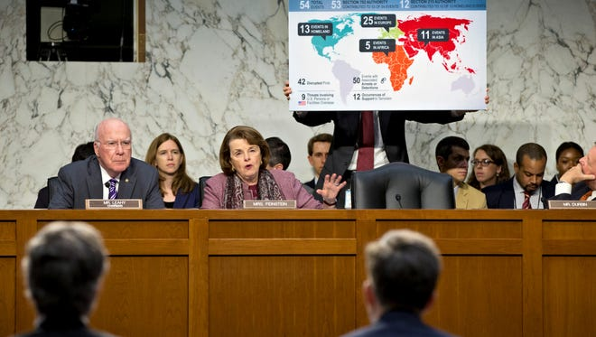 With a chart listing thwarted acts of terrorism, Sen. Dianne Feinstein, D-Calif., chair of the Senate Intelligence Committee, questions top Obama administration officials Wednesday.