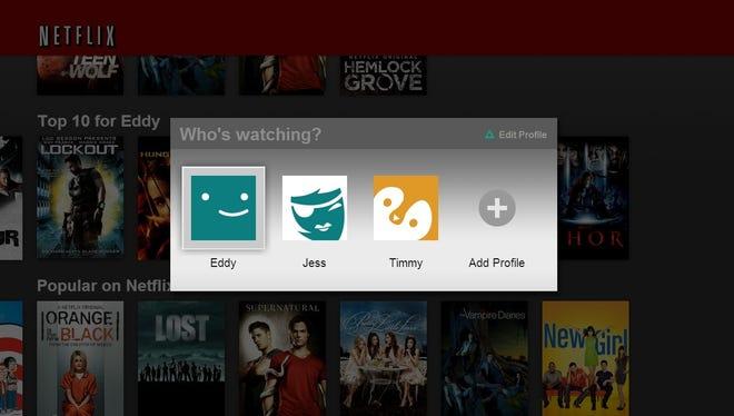 A screen shot from Netflix's new Profiles feature.