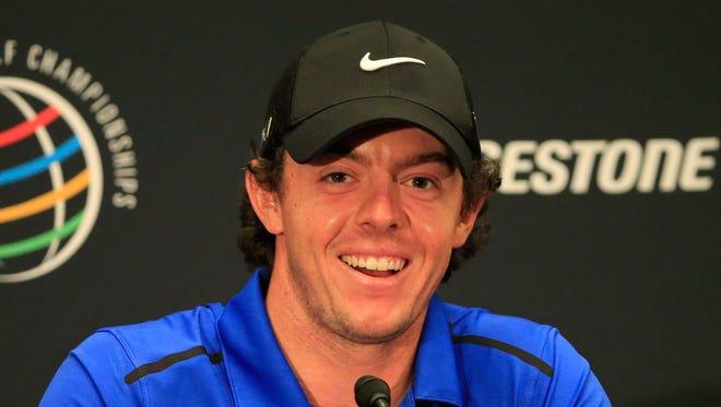 Rory McIlroy of Northern Ireland speaks to the media on Wednesday ahead of the World Golf Championships-Bridgestone Invitational.