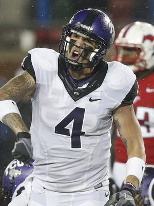 TCU Horned Frogs quarterback Casey Pachall (4) reacts during the game against the Southern Methodist Mustangs last season.