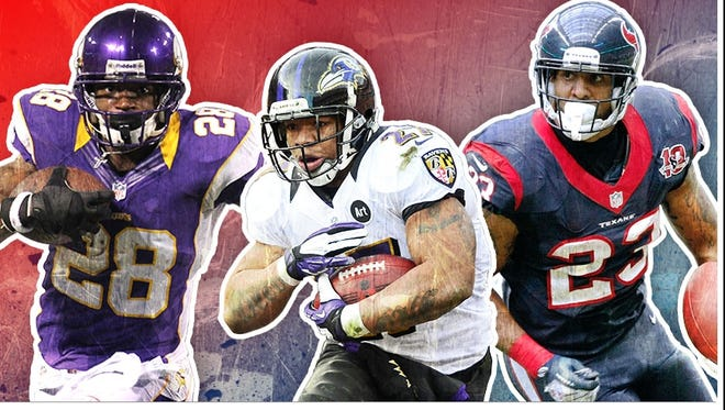 Running backs Adrian Peterson, Ray Rice and Arian Foster are slam-dunk first-rounders in 2013 fantasy drafts.