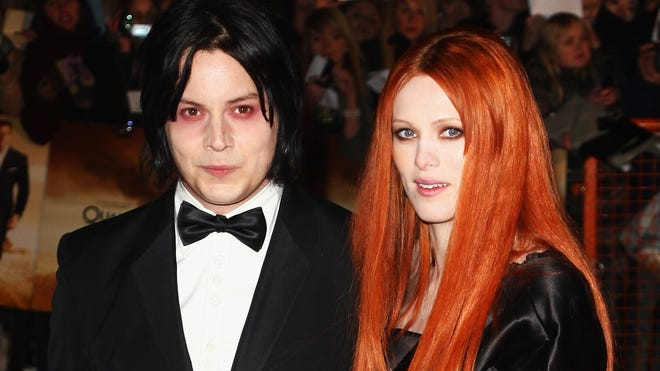In happier times: Jack White and Karen Elson attend the premiere of 'Quantum of Solace' in London in 2008.