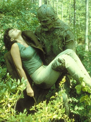"""Adrienne Barbeau gets saved by her plant-loving leading man in 1982's """"Swamp Thing."""""""