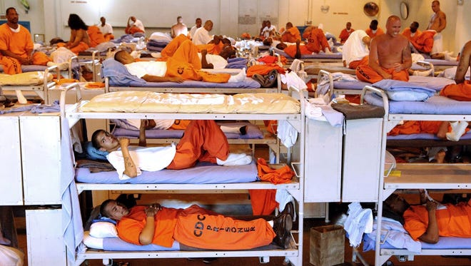 Inmates live in crowded conditions at California State Prison in Los Angeles in a 2007 photo released by the state.