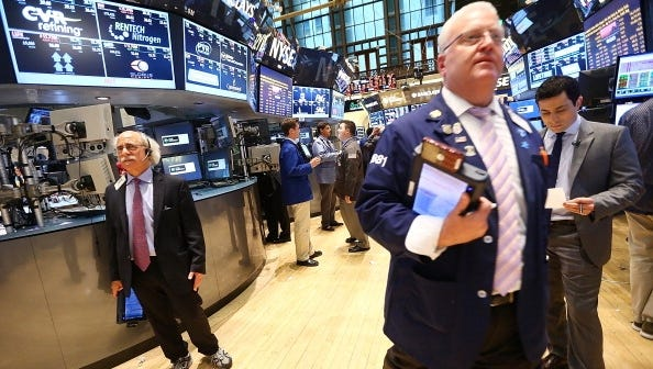 On the trading floor of the New York Stock Exchange.