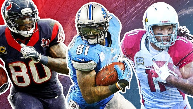 Calvin Johnson, Larry Fitzgerald and Andre Johnson are among the stellar wideouts who will go early in fantasy drafts this season.