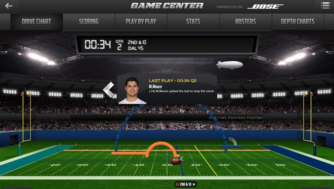 A screengrab from the newly updated NFL app.