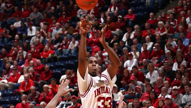 Guard Devan Dumes averaged 9.5 points while playing 57 games, starting 25, during his Indiana career.