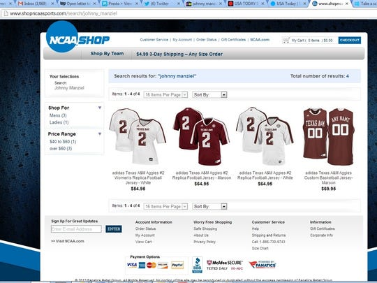 ea64772933912 NCAA apparel sales site used athletes  names in search
