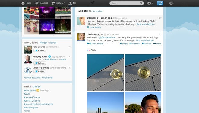 A screen shot from Twitter of tweets from Yahoo CEO Marissa Mayer and new Flickr chief Bernardo Hernandez.