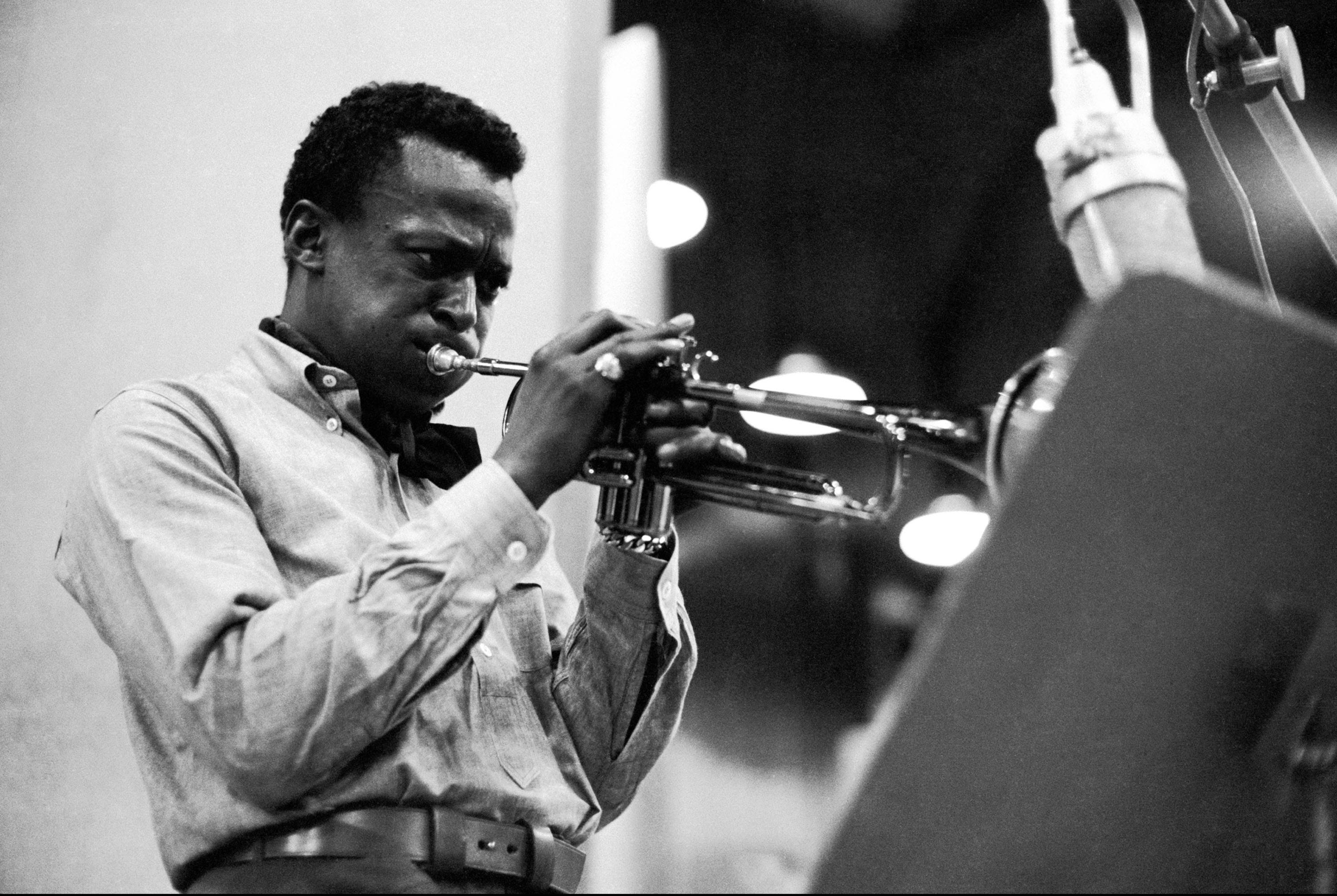 """In this publicity image released by Sony/Legacy Records, musician Miles Davis is shown during recording session in 1959 for """"Kind of Blue."""" His music is among to be made available in new high-resolution music downloads."""