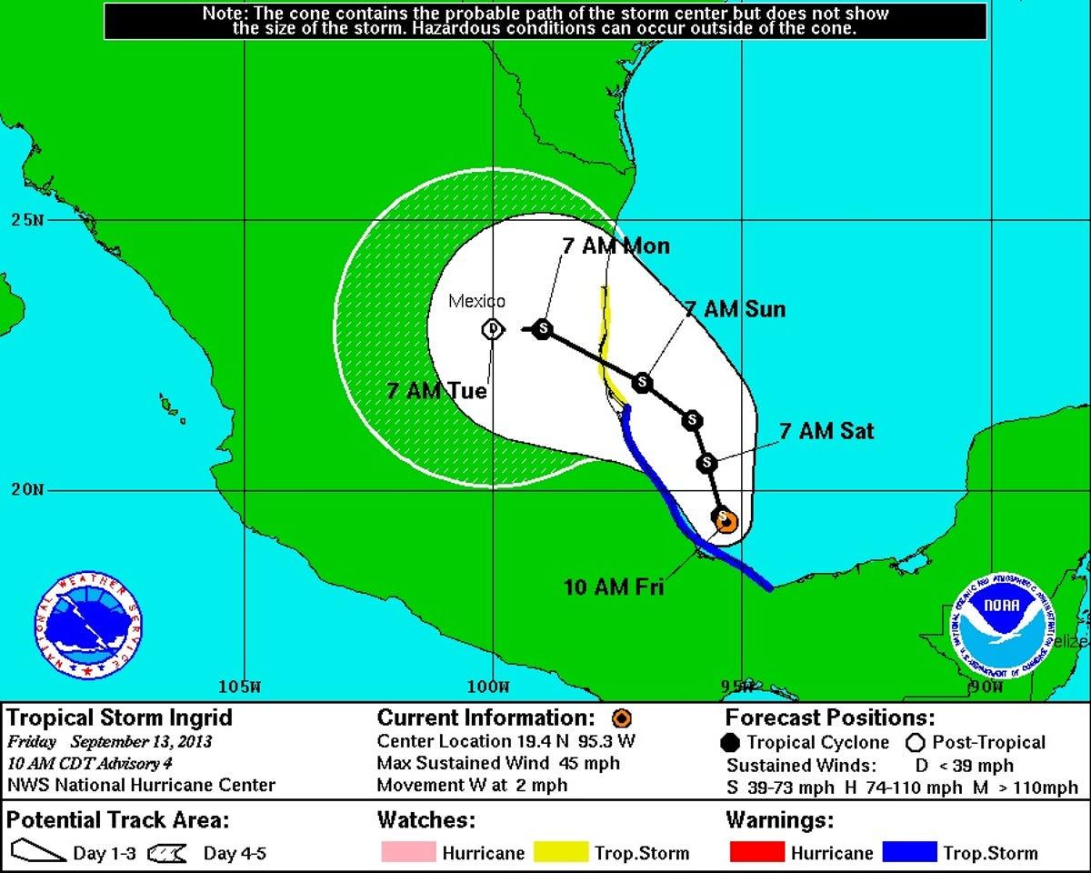 Tropical Storm Ingrid lashes Mexico's Gulf Coast