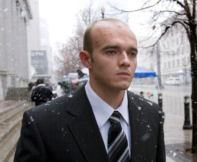 Ex-Blackwater Worldwide security guard Nick Slatten leaves federal court in Salt Lake City in 2008.