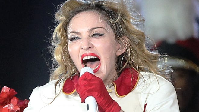 Madonna, shown at a stop in France on her world tour, has been making remarks about President Obama.