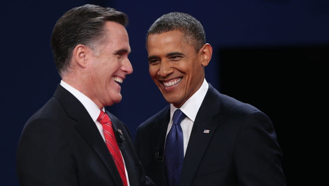 President Obama and Mitt Romney at their debate Oct. 3.