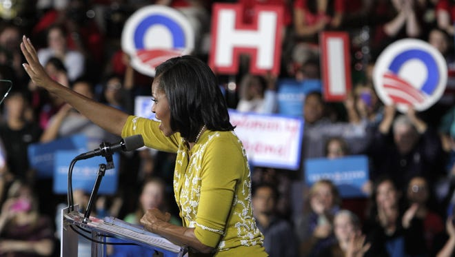 First lady Michelle Obama campaigns in Ohio.